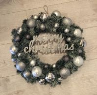 Silver Christmas Spruce Bauble Wreath Fairy Lights Front Door Wall Decoration